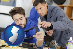 new-jersey map icon and student studying auto mechanics at a vocational school